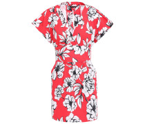 Woman Belted Floral-print Stretch Cotton-ottoman Mini Dress Red