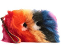 Leather-trimmed Shearling Pouch Multicolor Size --