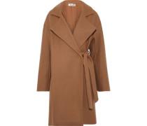 Belted Wool-blend Felt Coat Camel