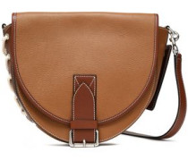 Bike Lace-up Smooth And Textured-leather Shoulder Bag Tan Size --