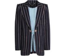 Crystal-embellished striped denim blazer