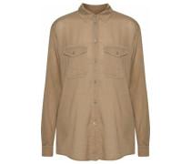 Textured Cotton And Silk-blend Shirt Camel