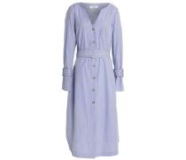 Belted striped cotton-poplin midi shirt dress