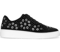 Embellished Suede Sneakers Black