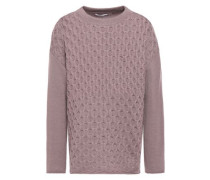 Woman Cable-knit Cashmere Sweater Lilac