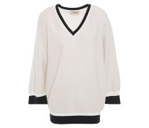 Woman Metallic Cotton-blend Sweater Ecru