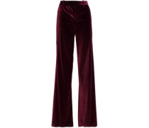 Paulette satin-trimmed velvet wide-leg pants