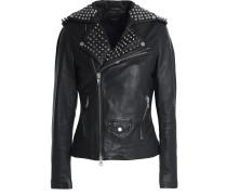 Woman Studded Leather Biker Jacket Black