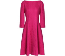 Flared jacquard-knit cotton-blend dress