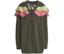 Ruffled Open And Ribbed-knit Cardigan Army Green