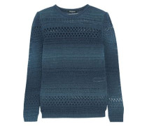 Metallic open-knit cotton-blend sweater