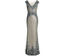 Floral-appliquéd embellished tulle gown
