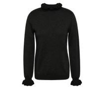 Metallic Wool-blend Turtleneck Sweater Black
