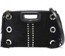 Studded Fringe-trimmed Suede Clutch Black Size --