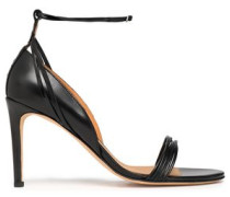 Smooth and patent-leather sandals