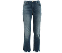 Le High Cropped Frayed High-rise Straight-leg Jeans Mid Denim  3