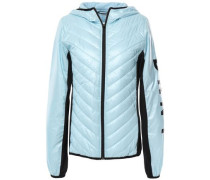 Jersey-paneled Printed Quilted Shell Down Jacket Sky Blue