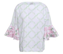 Fluted Printed Stretch-cotton Dress White