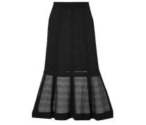 Lace-paneled stretch-knit midi skirt