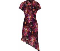 Asymmetric appliquéd floral-print fil coupé dress