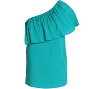 One-shoulder ruffled crepe de chine top