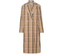 Woman Oversized Double-breasted Checked Wool Coat Light Brown