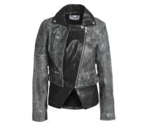 Paneled leather biker jacket