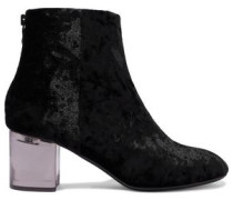 Drea Crushed-velvet Ankle Boots Black