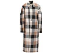 Woman Gingham Wool-twill Coat Gray