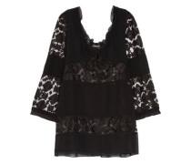 Paneled chiffon and embroidered lace blouse