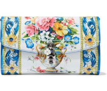 Floral-print Textured-leather Clutch Blue Size --