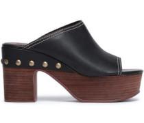 Studded Leather Platform Mules Black