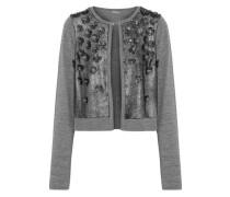 Alena embellished metallic suede-paneled merino wool cardigan