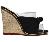 Knotted suede and PVC espadrille wedge mules