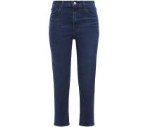 Woman Cropped High-rise Slim-leg Jeans Dark Denim