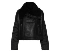 Shell-paneled Coated Suede Jacket Black