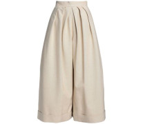 Linen and cotton-blend culottes