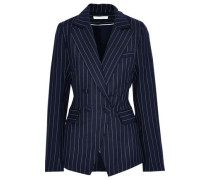 Double-breasted Pinstriped Twill Blazer Midnight Blue