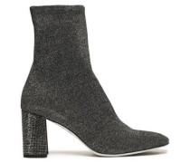 Woman Metallic Stretch-knit Sock Boots Black