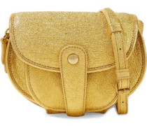 Metallic cracked-leather shoulder bag