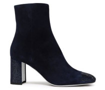 Woman Crystal-embellished Suede Ankle Boots Navy
