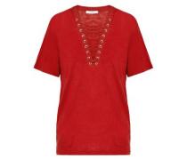 Lace-up slub linen-jersey top