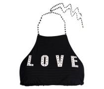 Printed halterneck bikini top