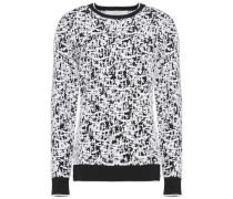 Rib-trimmed intarsia stretch-knit sweater