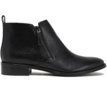 Snake-effect and smooth leather ankle boots