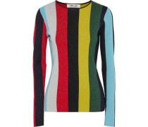 Metallic striped wool-blend top