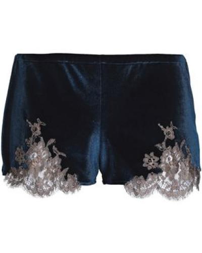 Lace-trimmed velvet pajama shorts