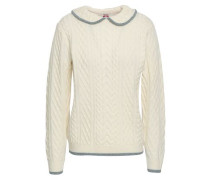 Metallic-trimmed Cable-knit Wool Sweater Ivory