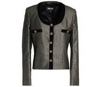 Velvet-trimmed metallic crepe jacket