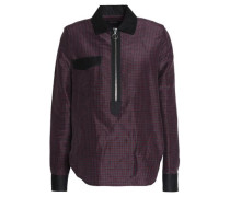 Poplin-trimmed checked ramie and silk-blend shirt
